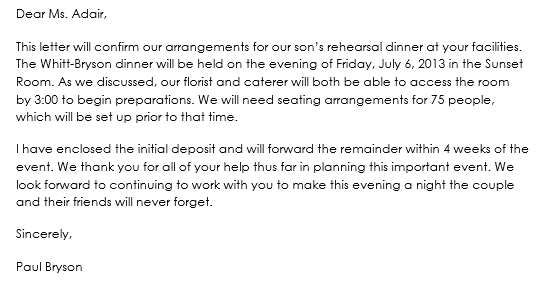Business Dinner Confirmation Letter