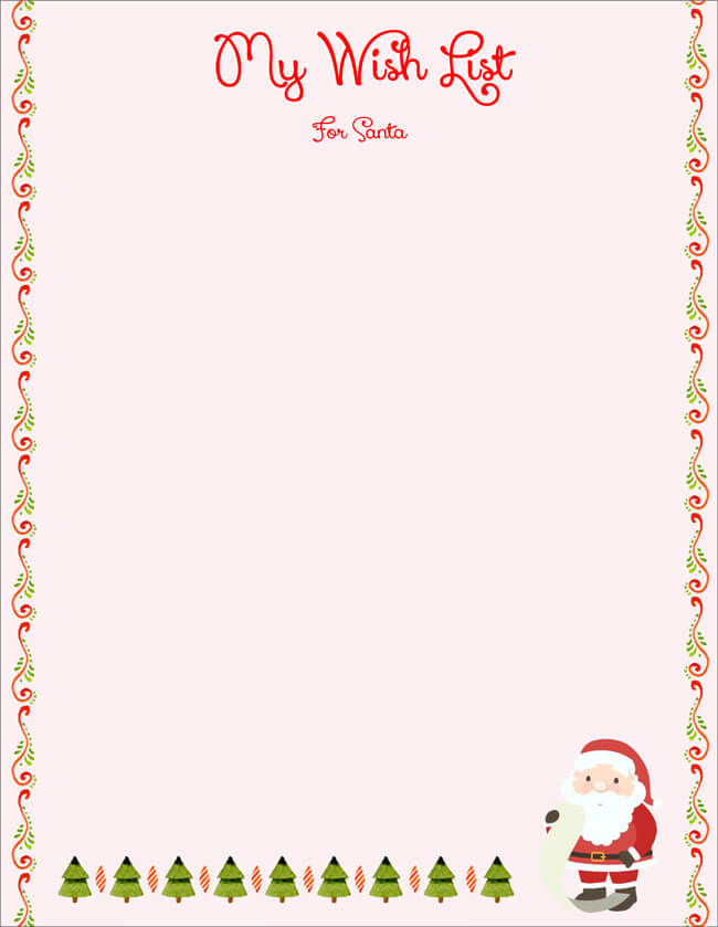 Christmas Wish List For Santa Template  Christmas Wish List Templates