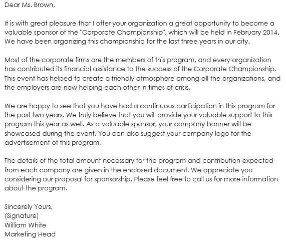 Corporate Championship Sponsorship Letter Sample