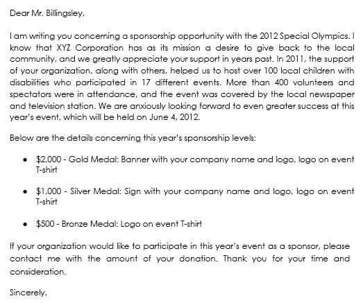 corporate sponsorship letter sample