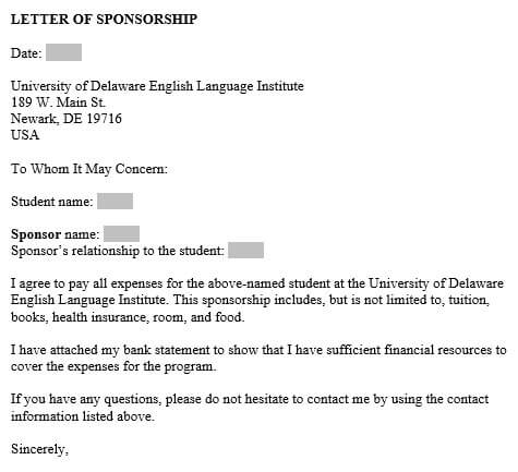 Education Sponsor Letter Sample