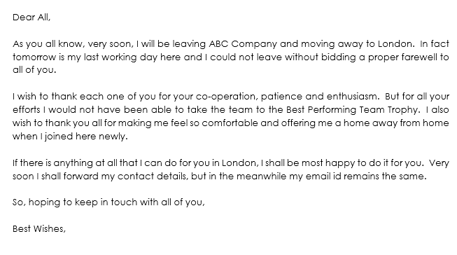 Farewell Letter Sample on Leaving Company