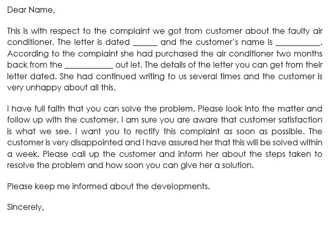 Follow up on a Complaint from a Customer