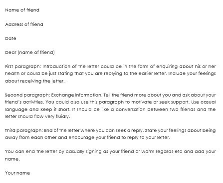 Friendship Letter Format