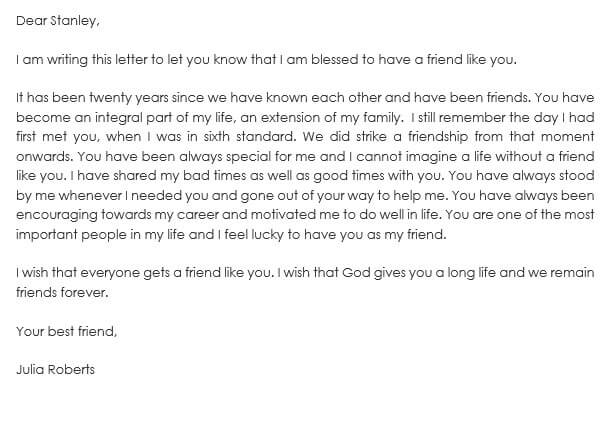 Intimate Friendship Letter