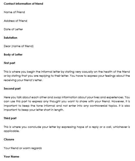 letter formats to write a friendly letter
