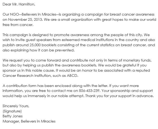 Medical awareness Sponsorship Letter Format