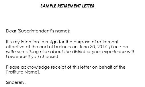 Retirement Letter Samples for School or College