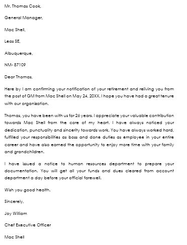retirement notice letter sample