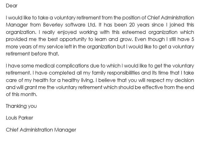 Sample of Voluntary Retirement Letter