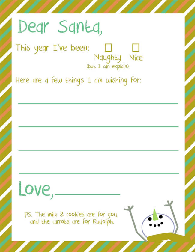Santa Wish List Letter Printable