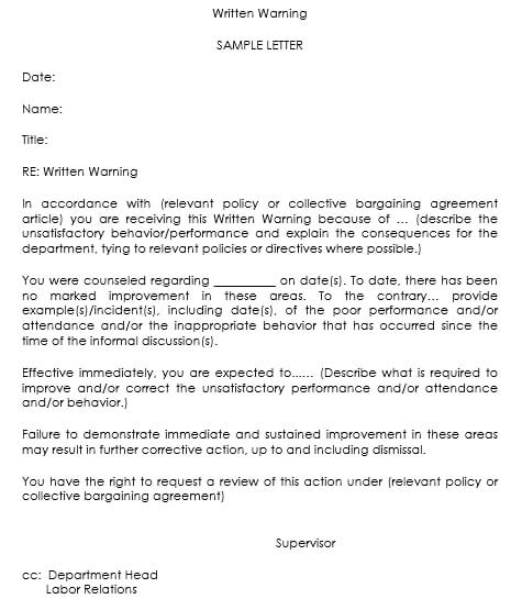 Warning Letter Templates   Sample  Formats For Hr Warnings