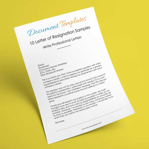 10 Professional Letter of Resignation Samples