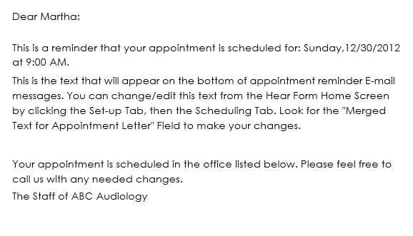 Appointment Reminder Email Sample