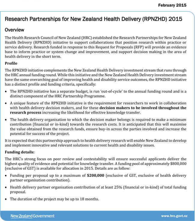 Example of Request for Proposal on Health by Government of New Zealand