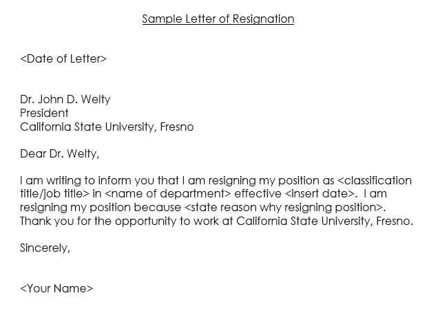 Letter of Resignation Samples free download