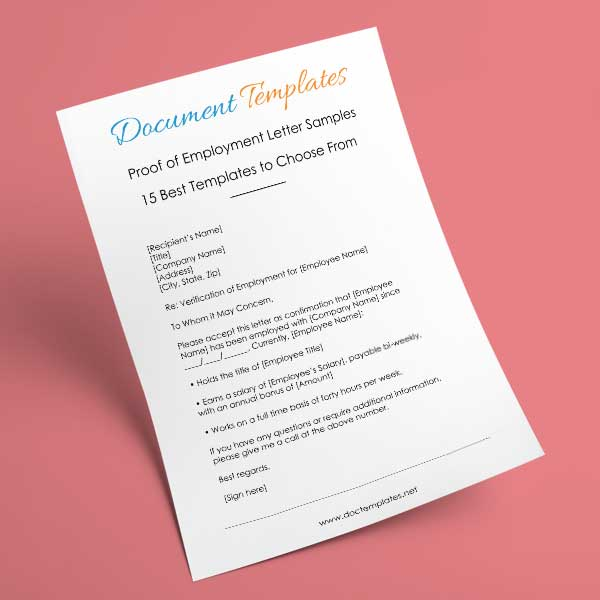 Proof of Employment Letter Samples – 15 Best Templates to Choose From