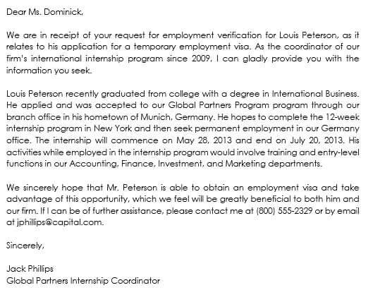 Proof of Employment Letter for Visa