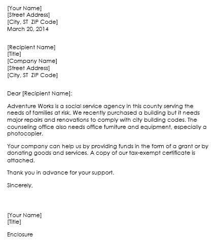 Request Letter For Chairs And Tables