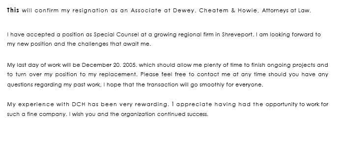 Resignation Letter Sample on Changing Company
