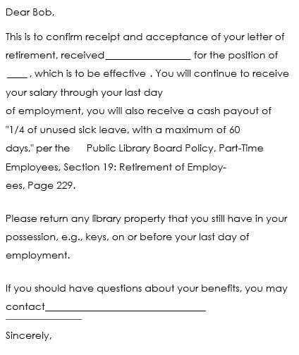 Retirement Acceptance Letter Example