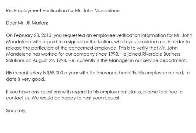 Sample Employee Verification Letter Template