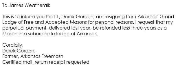 Simple Resignation Letter Example