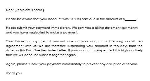past due payment letter sample