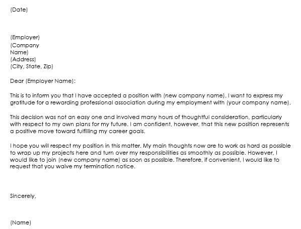 Awesome Professional Resignation Letter Sample