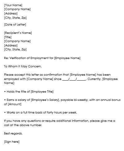 proof of employment letter template free