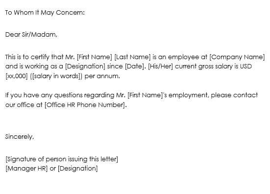 sample proof of employment letter from employer
