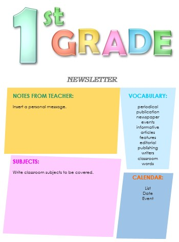 1st grade newsletter template word