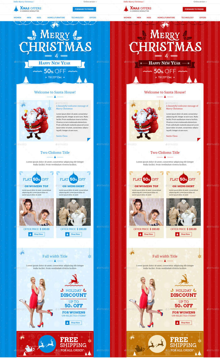 christmas e commerce e newsletter template psd