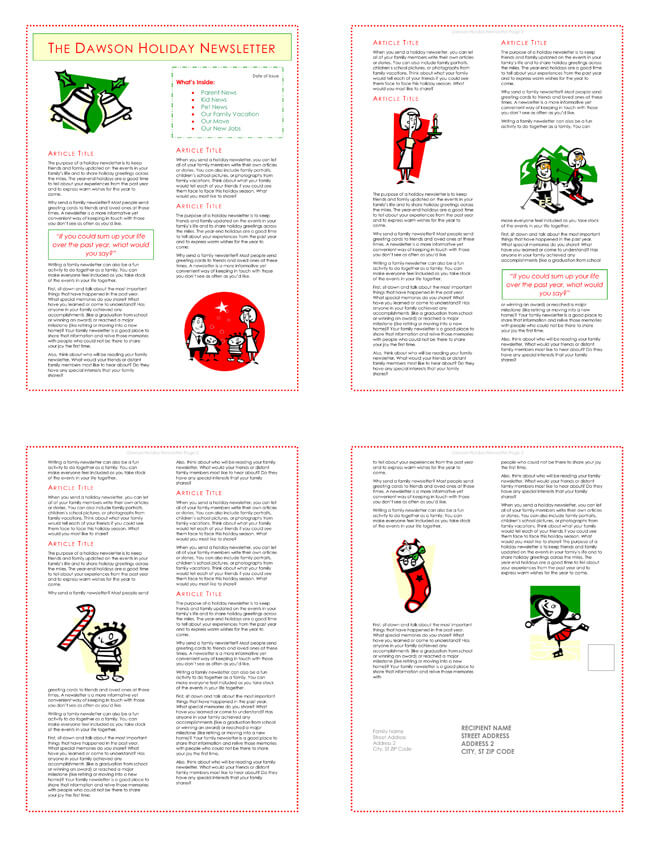 Christmas Family Newsletter Template Free Download