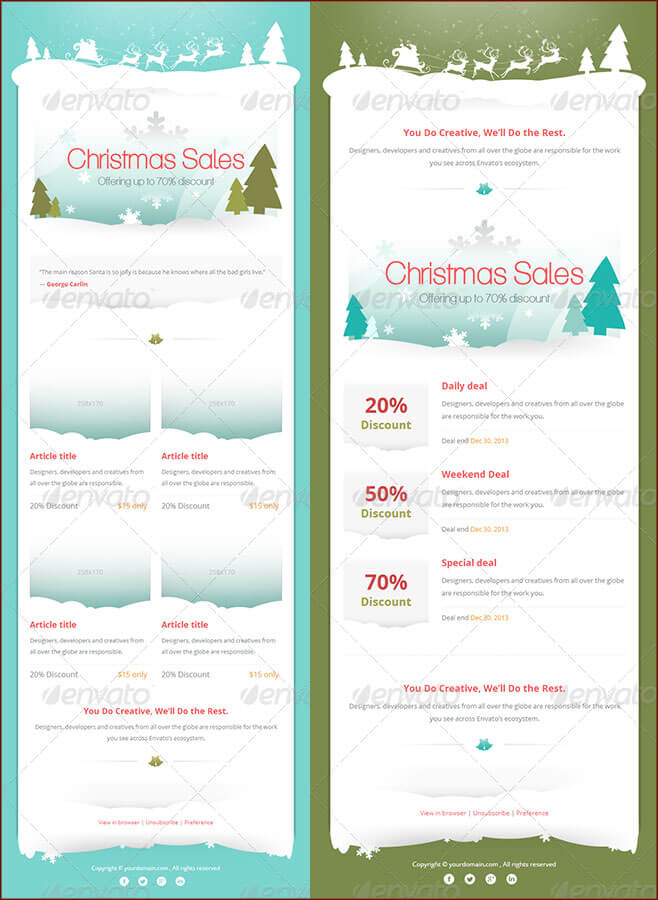 Christmas Themed Newsletter Template for Emails and Print