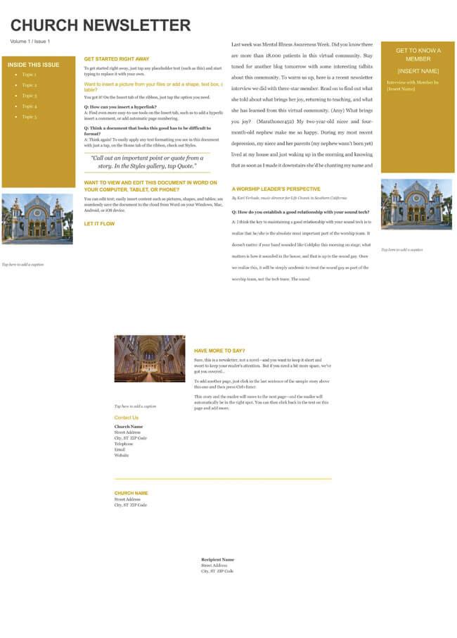 church newsletter templates