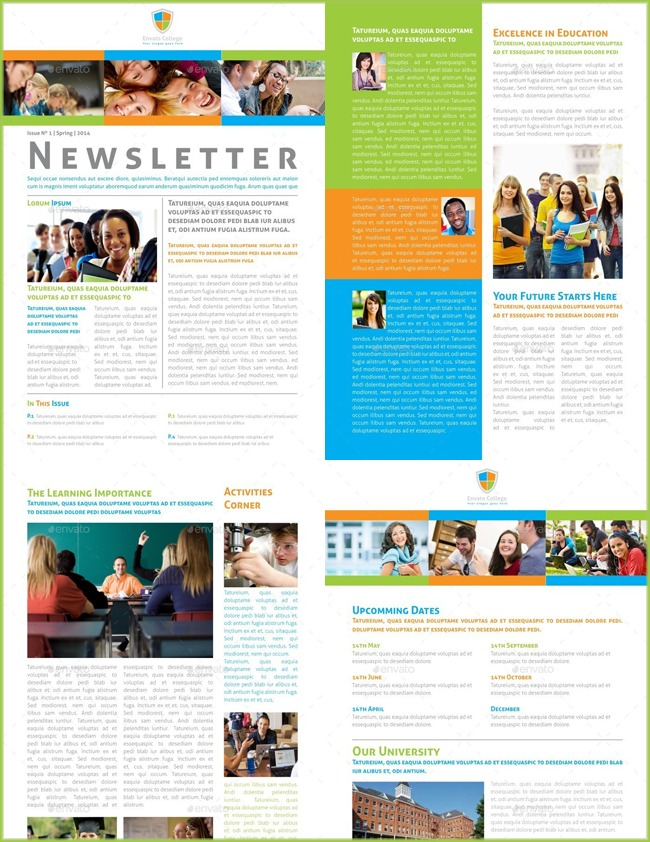 College and School Newsletter Template PSD