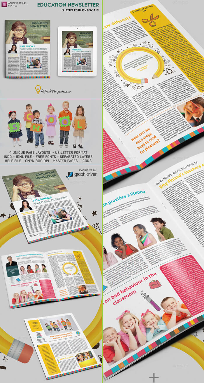 Education Newsletter Template for Adobe