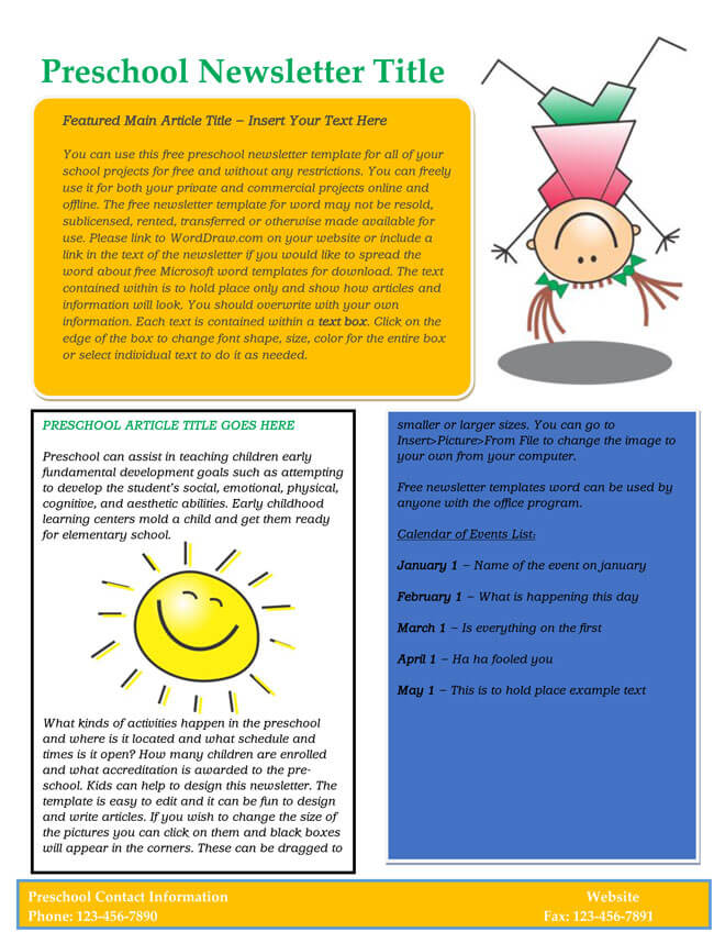 Free Editable Newsletter Template for Preschool and Parents