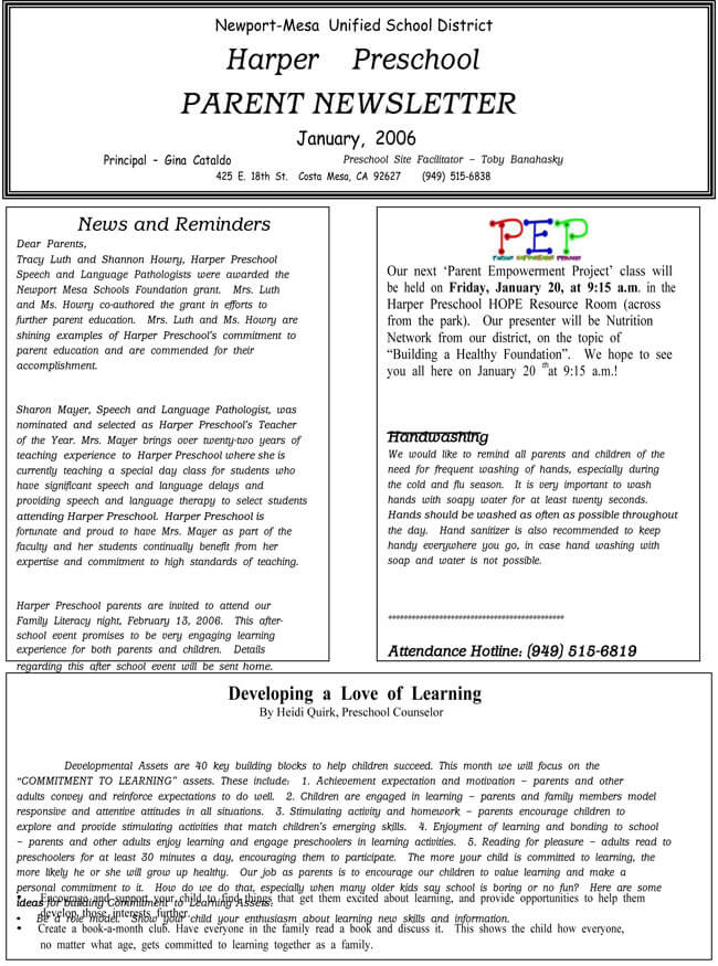 Kids Newsletter Template Printable Preschool