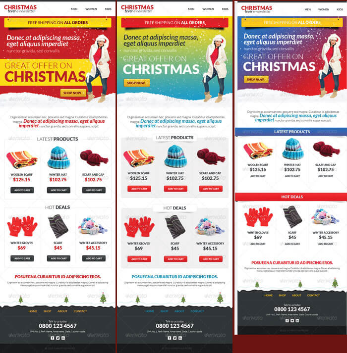 Printable Christmas Email Newsletter Templates