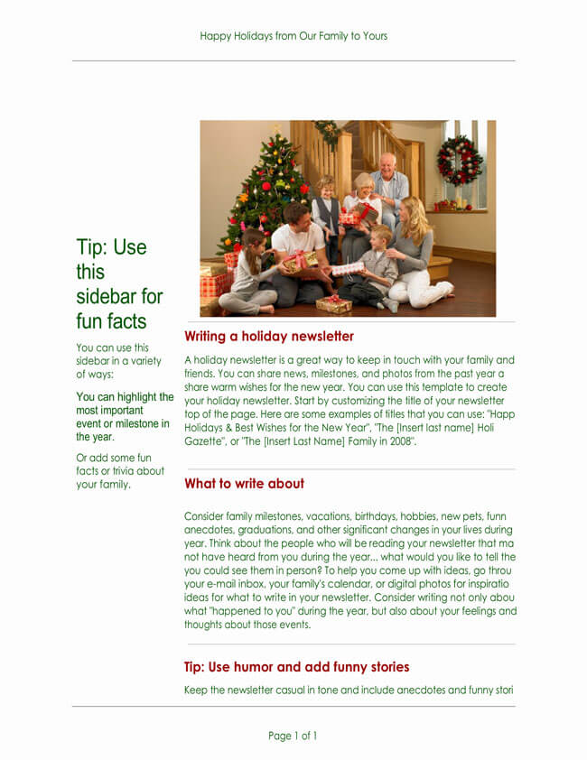 Printable Christmas Newsletter Template for Word