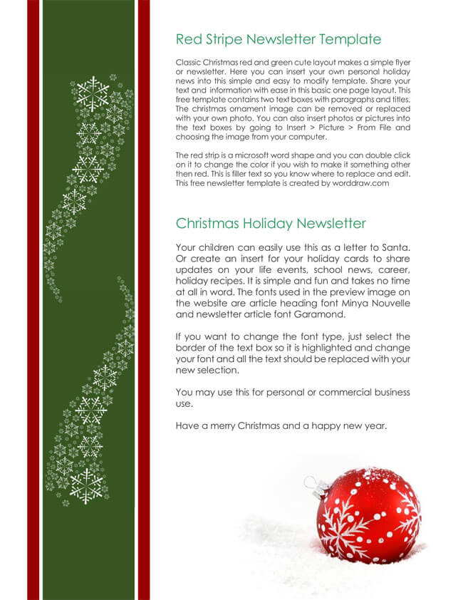 free holiday letter templates