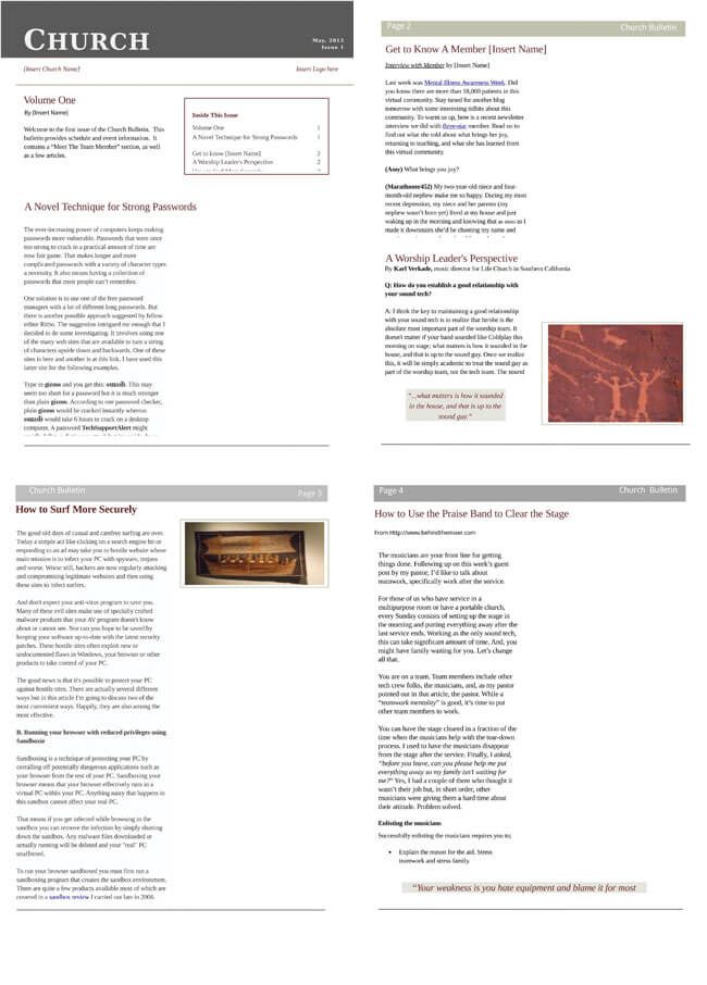 free church newsletter templates