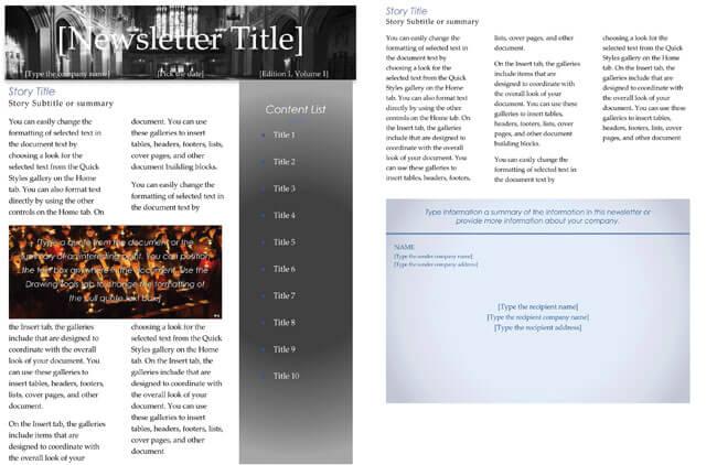 Free Church Newsletter Templates Editable In Microsoft Word