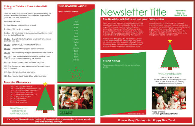 free holiday newsletter templates