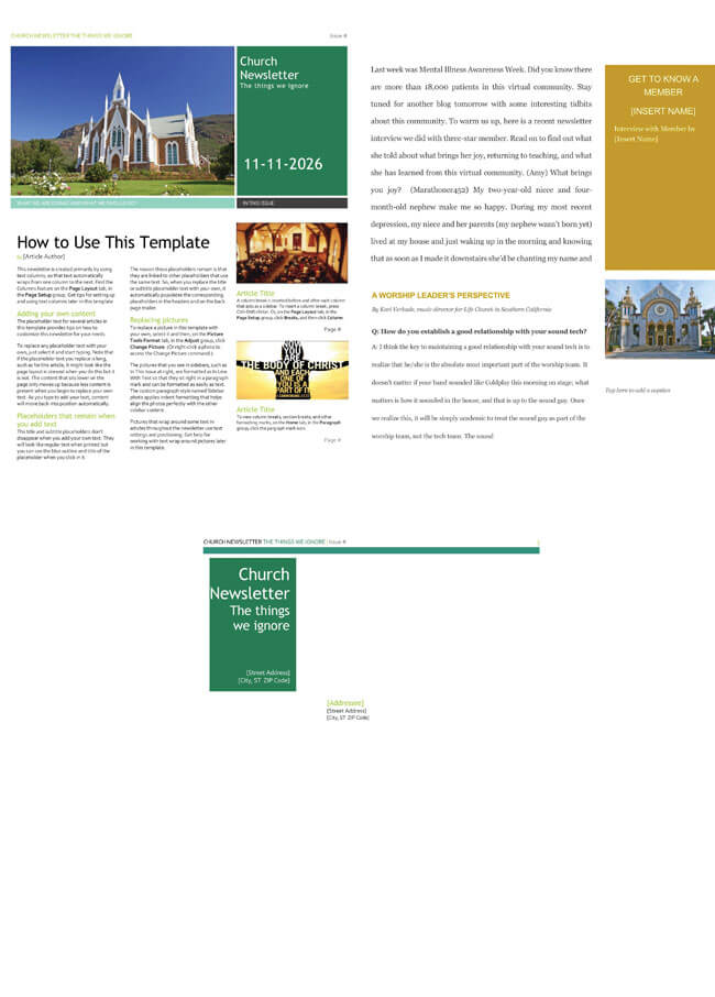 Free Church Newsletter Templates - Editable In Microsoft® Word