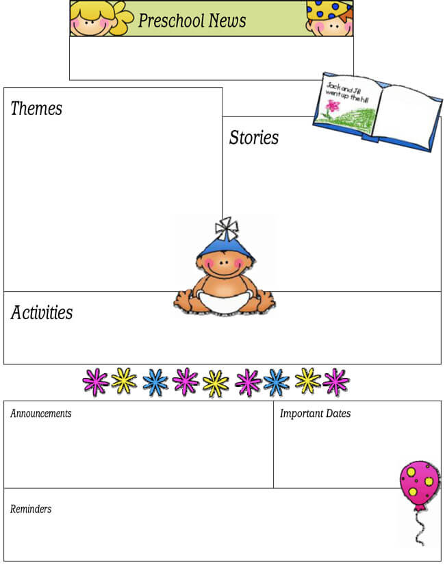 preschool newsletter template pdf