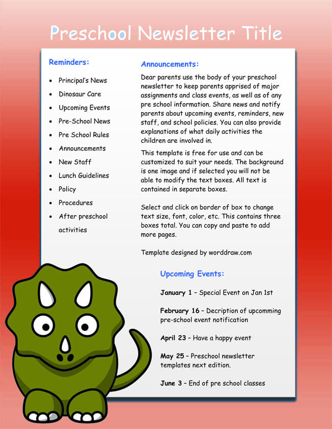 Preschool Newsletter Templates Word  Newsletter Templates In Word