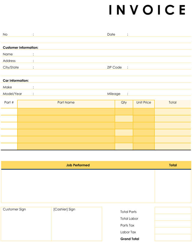 Auto Repair Invoice Templates Printable And Fillable Formats - Auto repair invoice template microsoft office